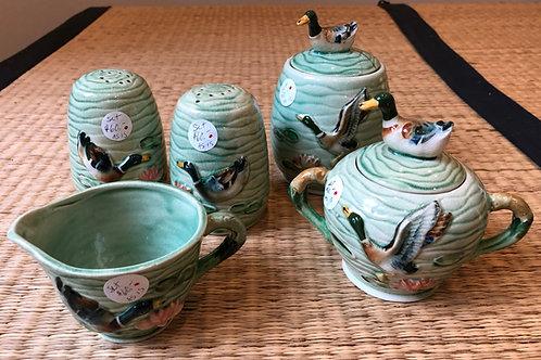 Vintage Ceramic Service Set with Duck Design