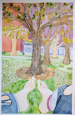 Watercolor Trees with Feet