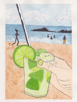 Watercolor Beach Caipirinha