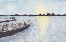 Watercolor Boat in Amazon