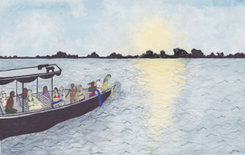 Watercolor Boat in Amazon