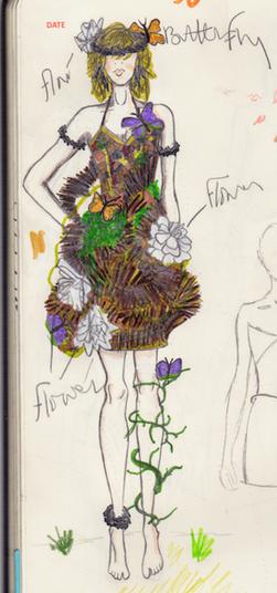 Non-Textile Wood Dress Illustration