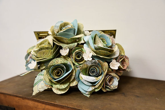 Paper rose in Vintage container