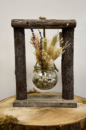 Wooden frame vases, dried flowers