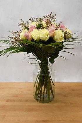 24 pink & white roses