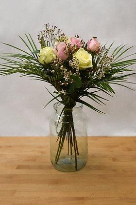 6 pink & white roses