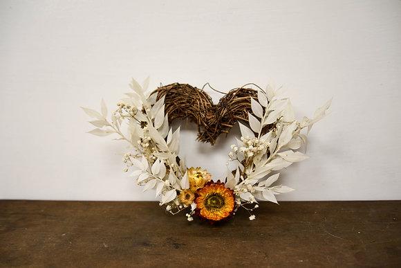 Wicker twig Heart dried flower