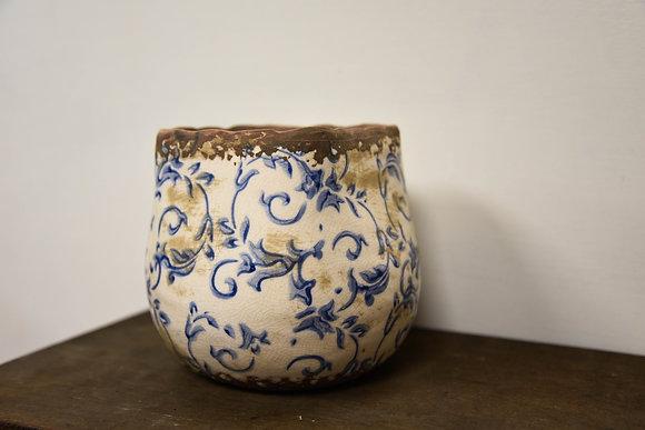 Blue ceramic plant pot medium