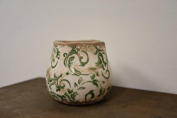 Green ceramic plant pot small