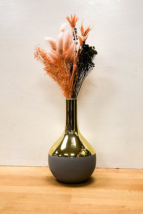 Gold, Grey tube vase