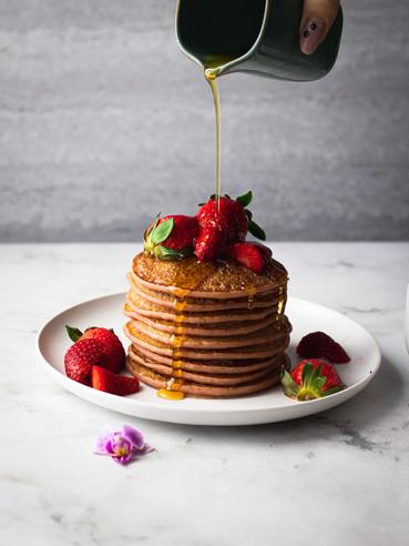 Strawberries pink Pancakes | VEGAN