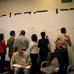 העבר: המשתתפים רושמים על הפלקטים שעל הקירות את האירועים החשובים ברמה האישית, הארגונית, והגלובאלית