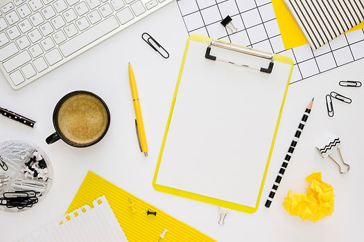 top-view-office-stationery-with-notepad-