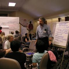 הקבוצות מציגות את ההשלכות של העבר ברמות השונות על המשך התהליך של הכנס