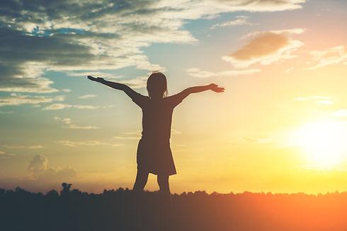 silhouette-little-girl-raising-hand-free