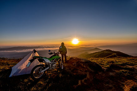 Motorcycle standing on a top of mountain