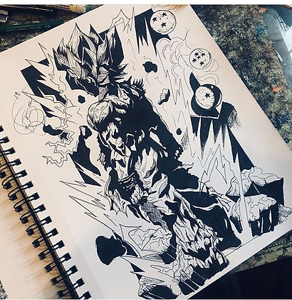 Goku Ink Drawing
