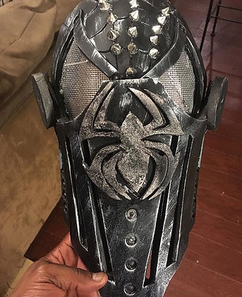 Black Medieval Knight Spider Man Face Mask for Kids & Adults