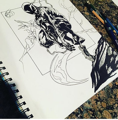 Spider Man Ink Drawing