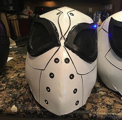 White Adult Cosplay Future Spider-Man Helmet w/ LED Lights