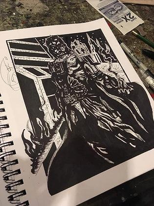 Darth Vader Ink Drawing