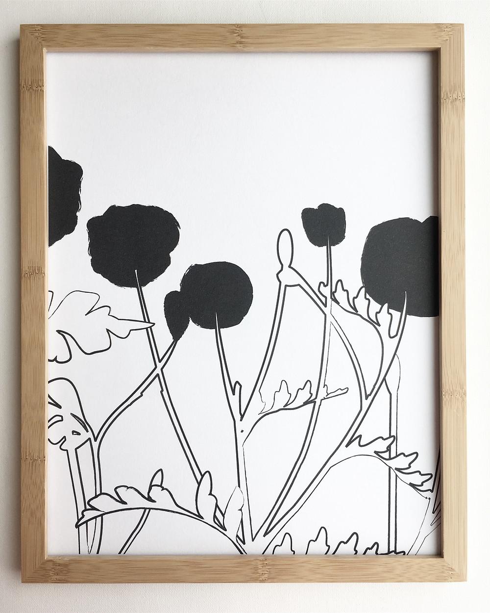 Heartthrob Studio Black & White Poppy Print
