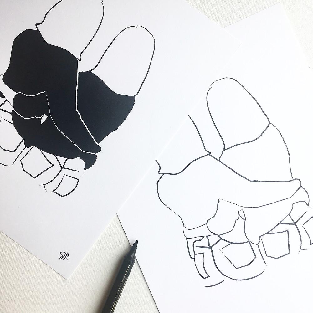 Heartthrob Studio Black & White BFF Illustration