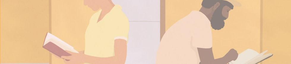 illustration homme noir barbu femme blanche lecture bibliothèque couleurs jaune bzeige livres blog