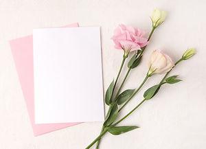 Wedding invitation mockup with white rib