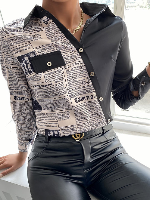 Letter Print Long Sleeve Buttoned Up Shirt-Black M