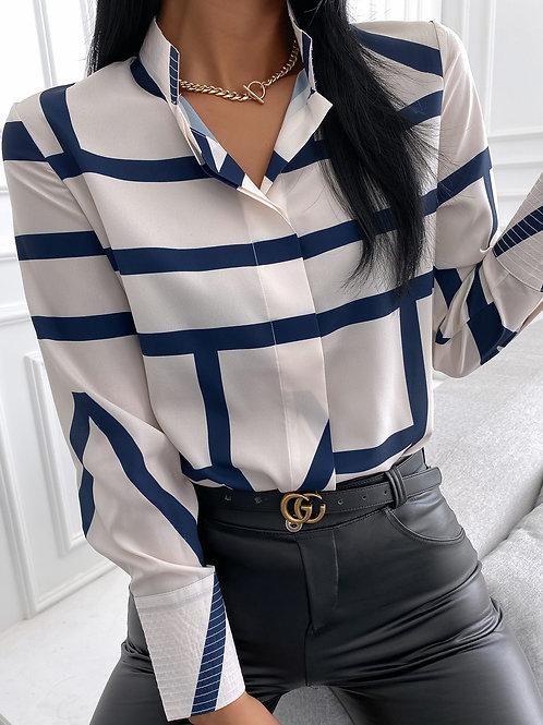 Striped Long Sleeve Casual Shirt- Multicolur-M