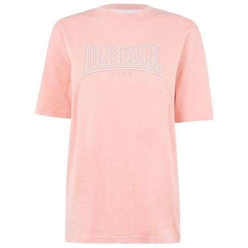 Lonsdale Long Line Crew T Shirt LadiesColour Peach Size 12 (M)