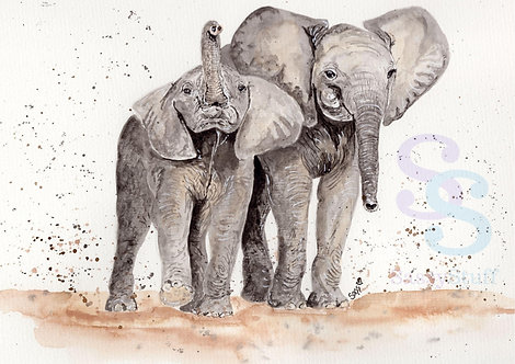 Mother and Baby Elephant A4 Print