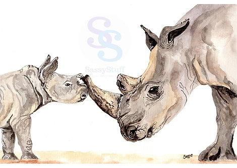 Mother and Baby Rhino A4 Print