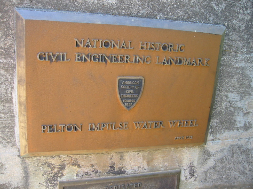 33.Pelton Plaque on monument in Camptonville.jpg
