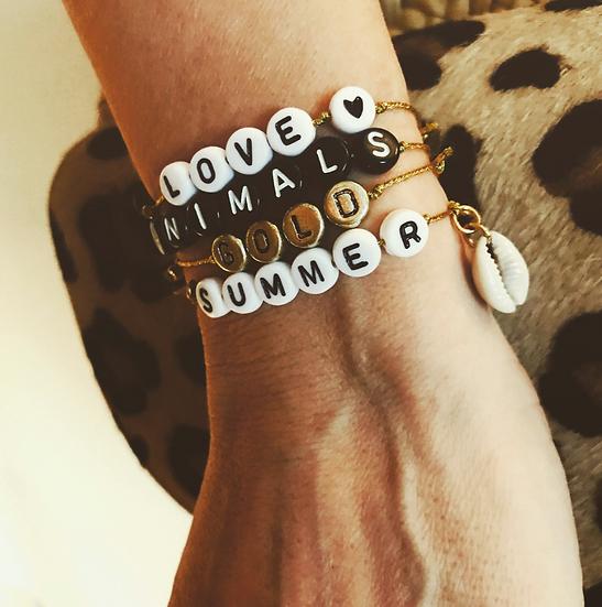 """Bracelet """"Words"""" sur fil (choix du mot après achat à transmettre par message)"""