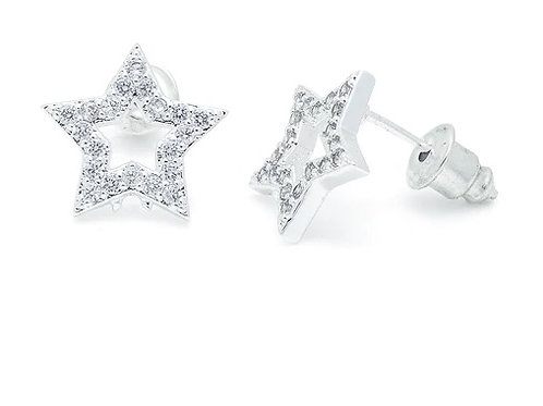 Cubic Zirconia Open Star Earrings