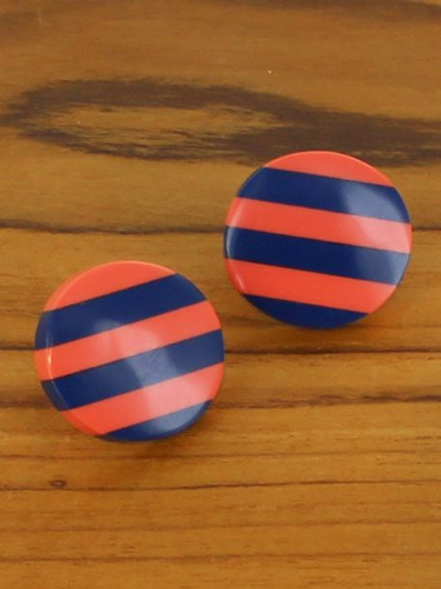 Striped Resin Stud, Coral / Blue