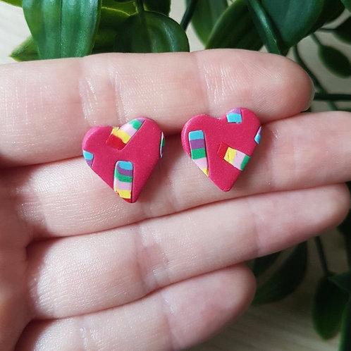 Handmade Pink & Rainbow Heart Studs