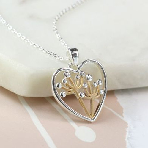 Heart Necklace With Golden Floral Centre