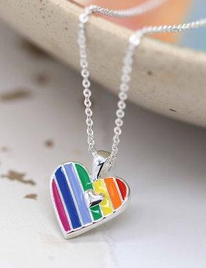 Rainbow Enamel Heart Necklace