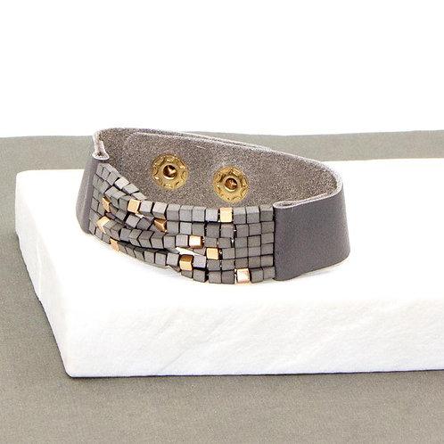 Beaded & Leather Statement Bracelet
