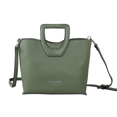 Red Cuckoo Handle Tote Bag   Green