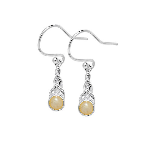 Sterling Silver Claddagh Drop Earring With Pearl
