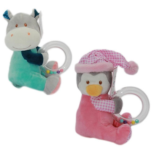 Plush Animal Rattle with Teether Ring