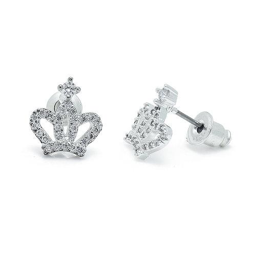 Cubic Zirconia Crown Earrings