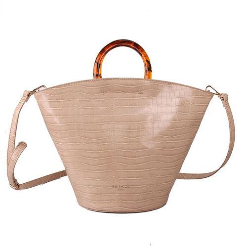 Red Cuckoo Cream Croc Handbag