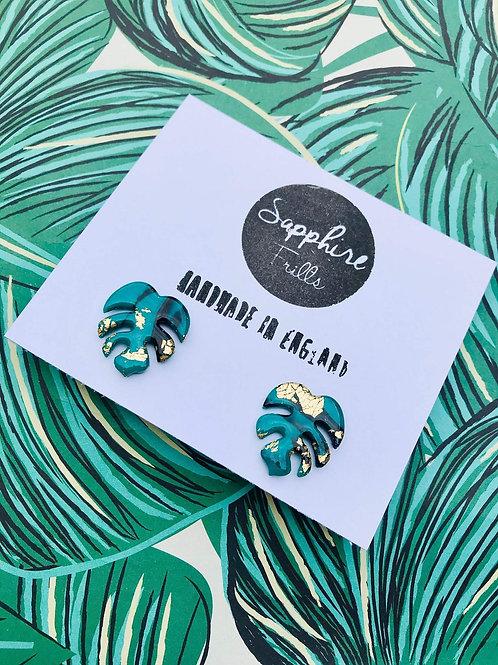 SF Emerald Green Monstera Stud Earrings