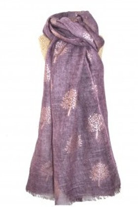 Rose Gold Mulberry Foil Tree Scarf - Plum