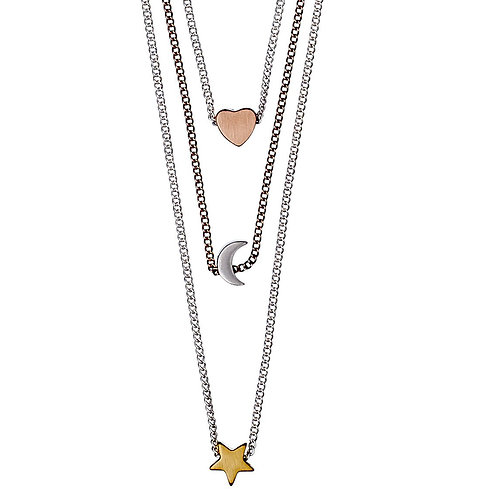 PILGRIM: Mixed Metal Star, Moon & Heart Necklace